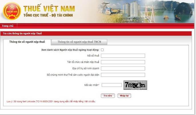 tra cứu mã số thuế cá nhân qua website của tổng cục thuế