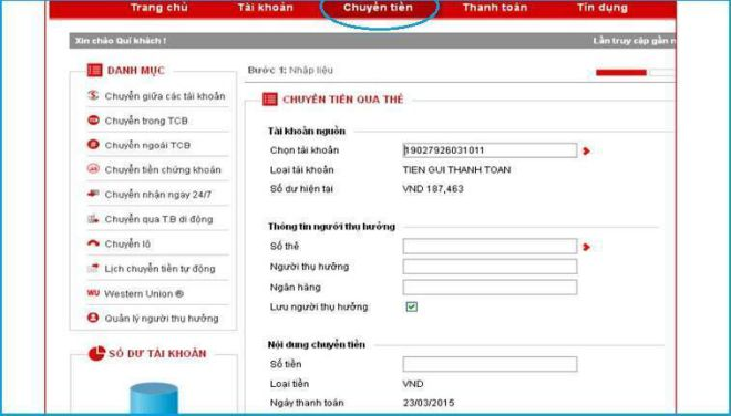 cach chuyen tien internet banking techcombank